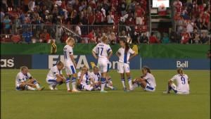 Besvikelse hos de finska damerna efter sortin vid U20 VM.