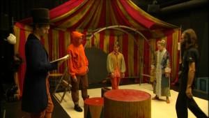 """Repetitioner för pjäsen """"Hamlet sade det vackrare""""."""