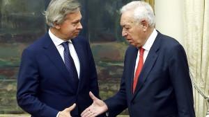 Ordföranden för dumans utrikesutskott Alexej Pusjkov på besök i Madrid.