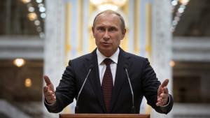Vladimir Putin håller tal i Minsk, Vitryssland 27.8.2014