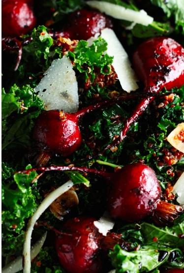 Laura's Warm Kale and Quinoa Salad with Roasted Balsamic Beets