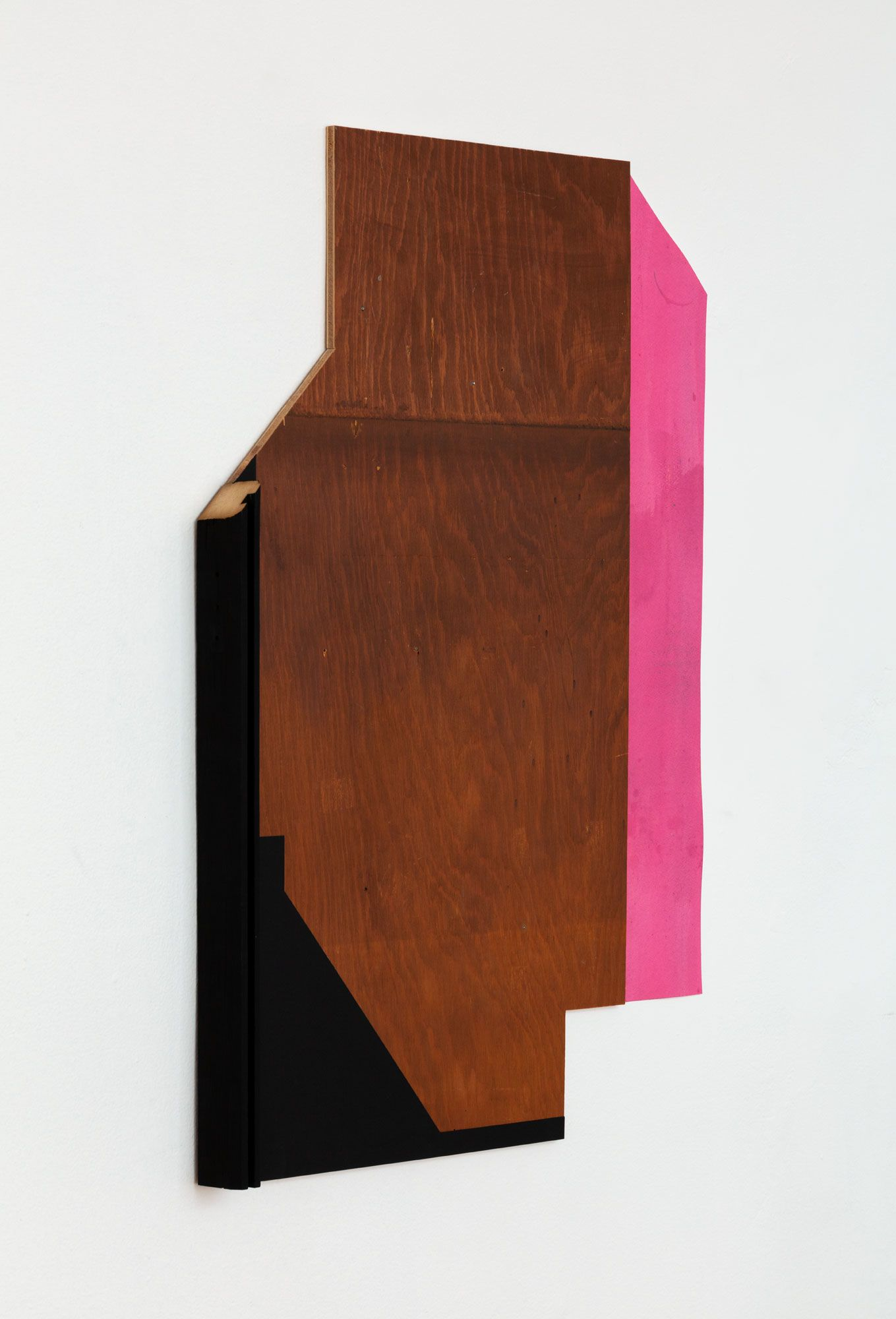 Untitled (Black wood edge, wood stained section, pink paper drop shadow)