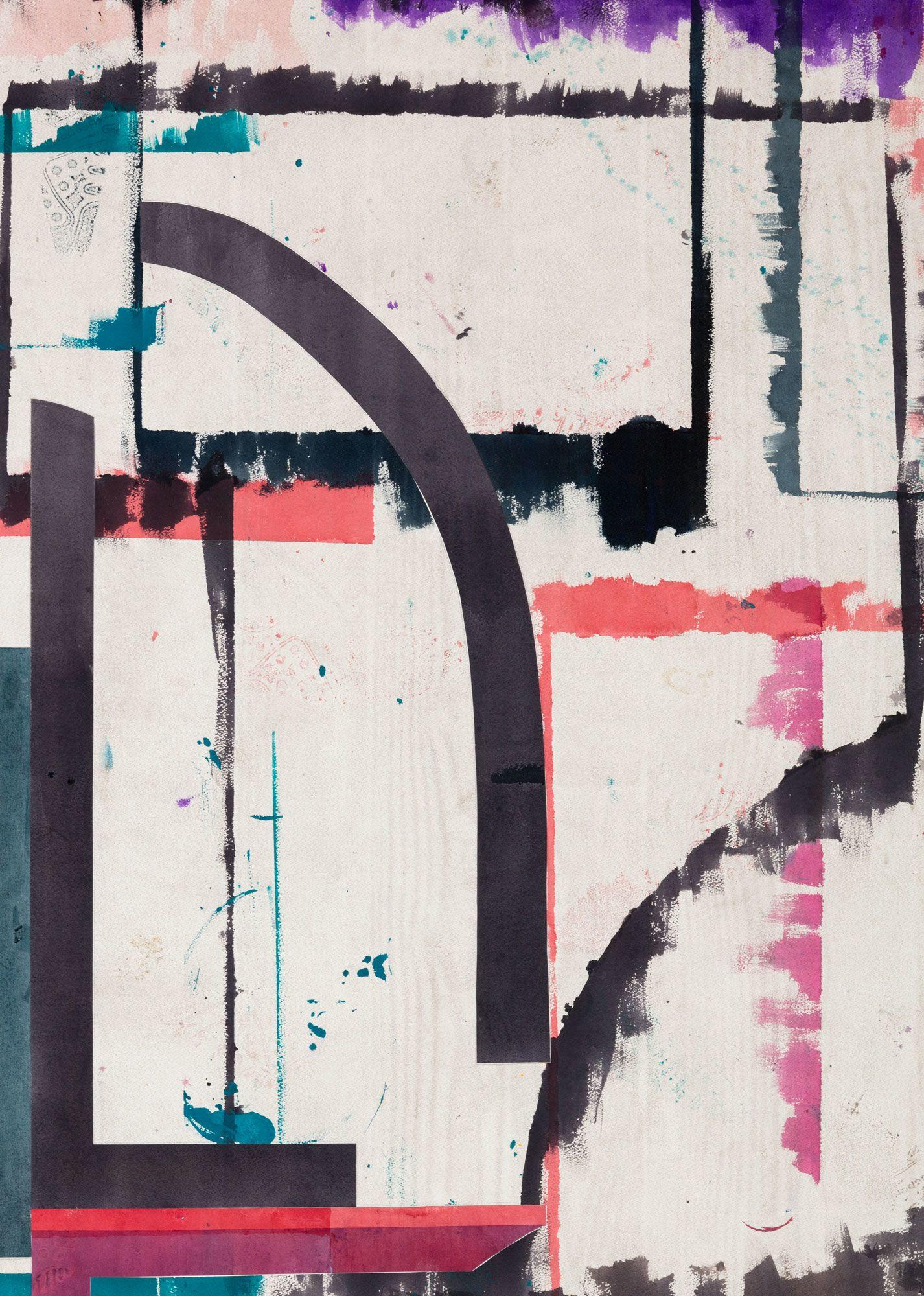 Untitled (floor paper, outlines, curves, edges), details