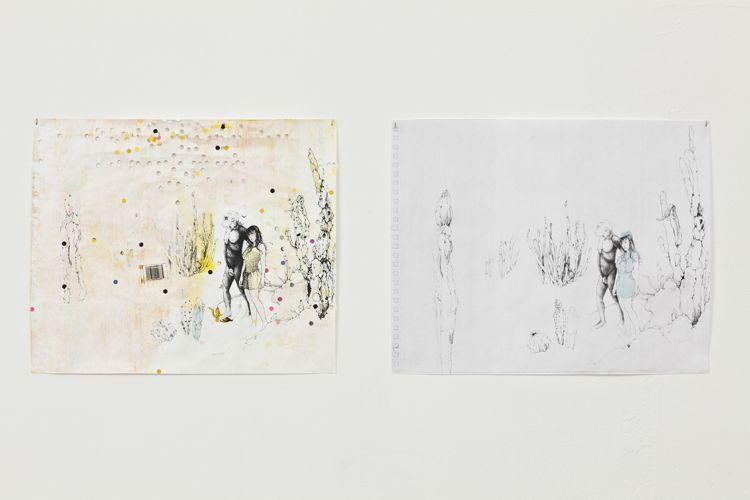 banana peel, 2013 (L), Walking with Gorilla, 2013 (R)