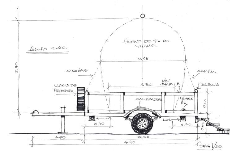 Preliminary drawings for the NuMu replica and trailer by architect Erick Baldizón (copy)