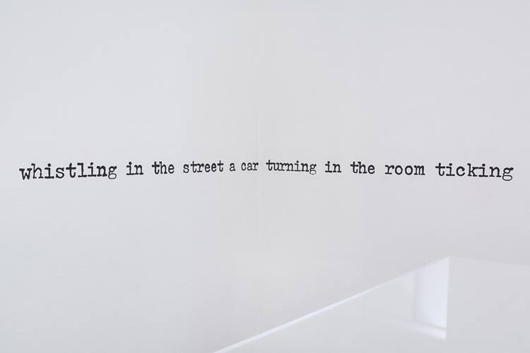 Aram Saroyan, whistling in the street a car turning in the room ticking