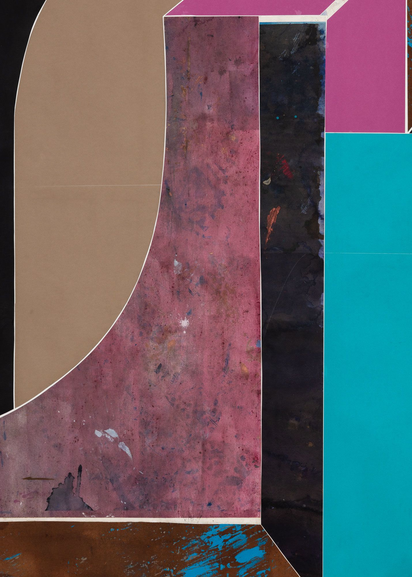 Untitled (floor paper, 2 large curves with drop shadows), detail