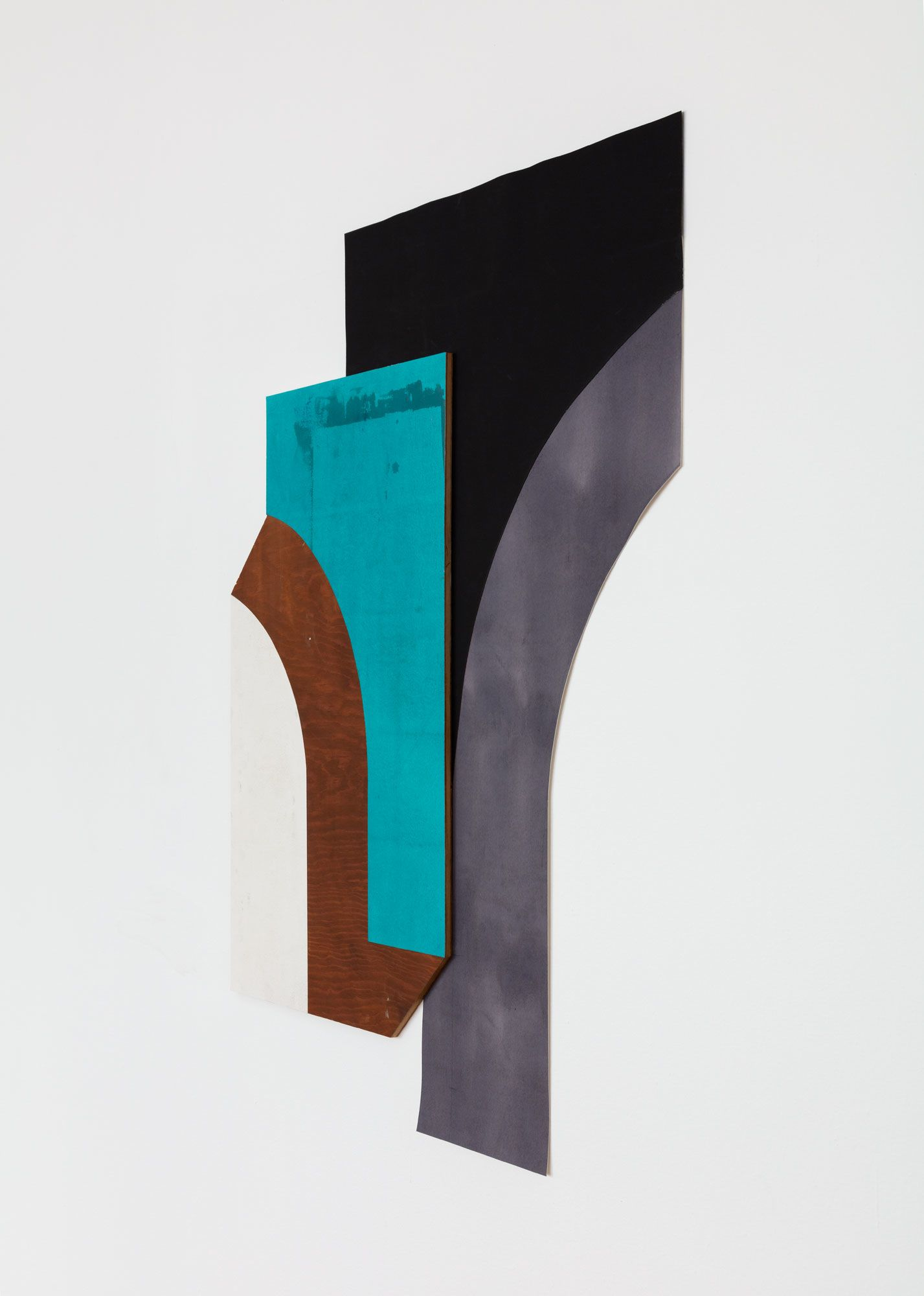Untitled (wood, teal, black, and gall ink curves)