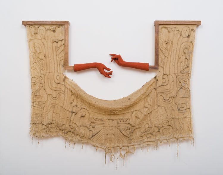 A two-headed serpent held in the Arms of Human Beings, or, Ticket Window, 2017Silicone, walnut, faux terracotta (dyed plaster)46 x 53 1/2 x 5 inches