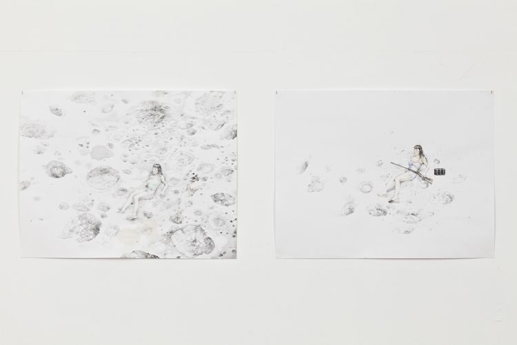 On the Moon with Fennec, 2013 (L), On the Moon with Rifle, 2012 (R)