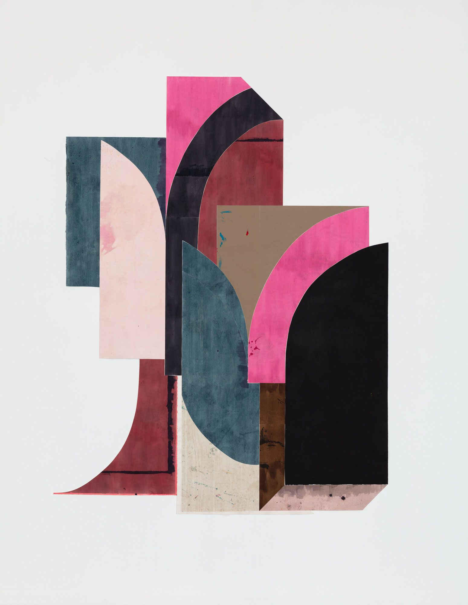 Untitled (floor paper, 2 large curves touching)