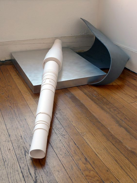 ...with Observations on their Habits, [aluminum pedestal with paper rolls and gray foam + 3 paper rolls in hallway], detail