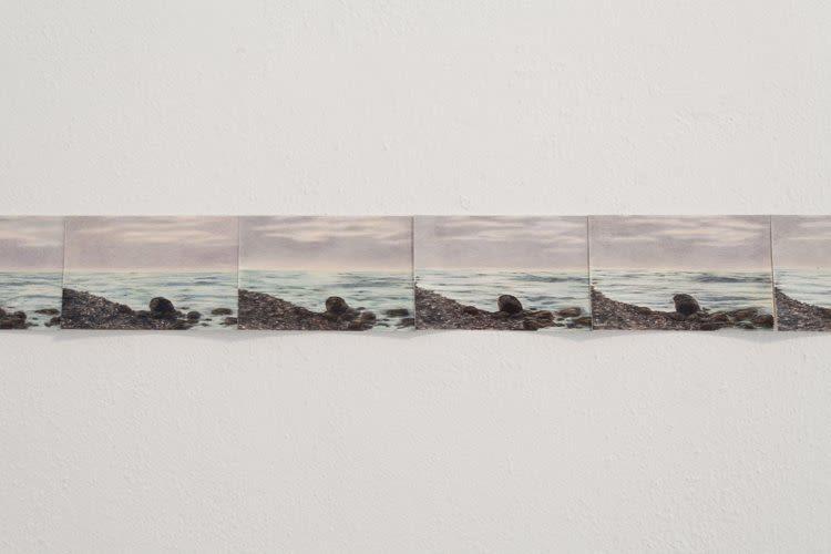 Rosha Yaghmai, Horizon, silver, lilac, aqua, detail