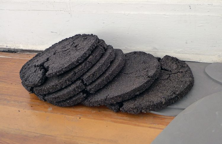 ...with Observations on their Habits, [foam scraps and compost discs], detail
