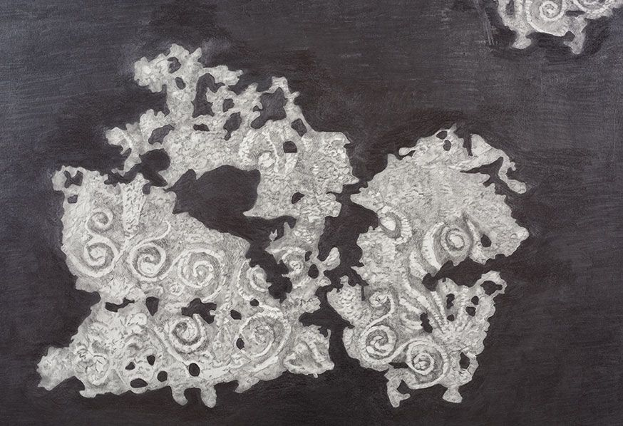 2 embroidered fragments from Kertch reconstruction, detail