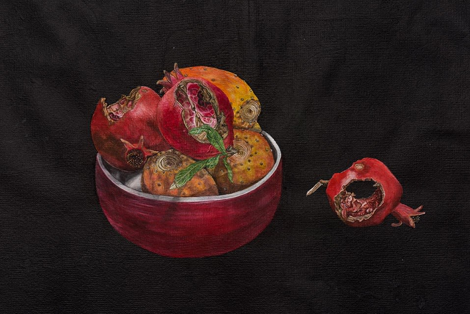 Still Life with Pomegranates and Prickly Pears, detail