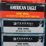 Five boxes .308 ammo Federal and American Eagle