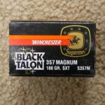 1 box, 20 rounds, Winchester Black Talon 357 Rem Mag