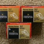 3 boxes, 60 rounds, Federal Premium Personal Defense 357 Rem Mag