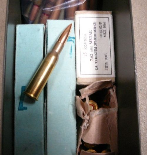 217 rounds 7.62x54R ammo in 30 cal ammo can