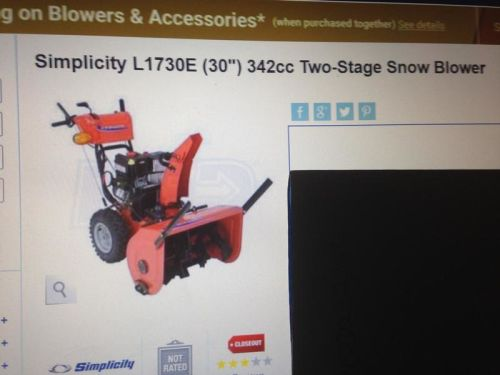 new  simplicity  24  HP  2  stage  snow  blower