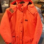 Lady's 2XL Blaze Orange Parka & Bibs, & size 8 Sorrel boots
