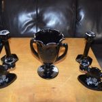 L.E Smith Vintage Black Amethyst Glass Collection