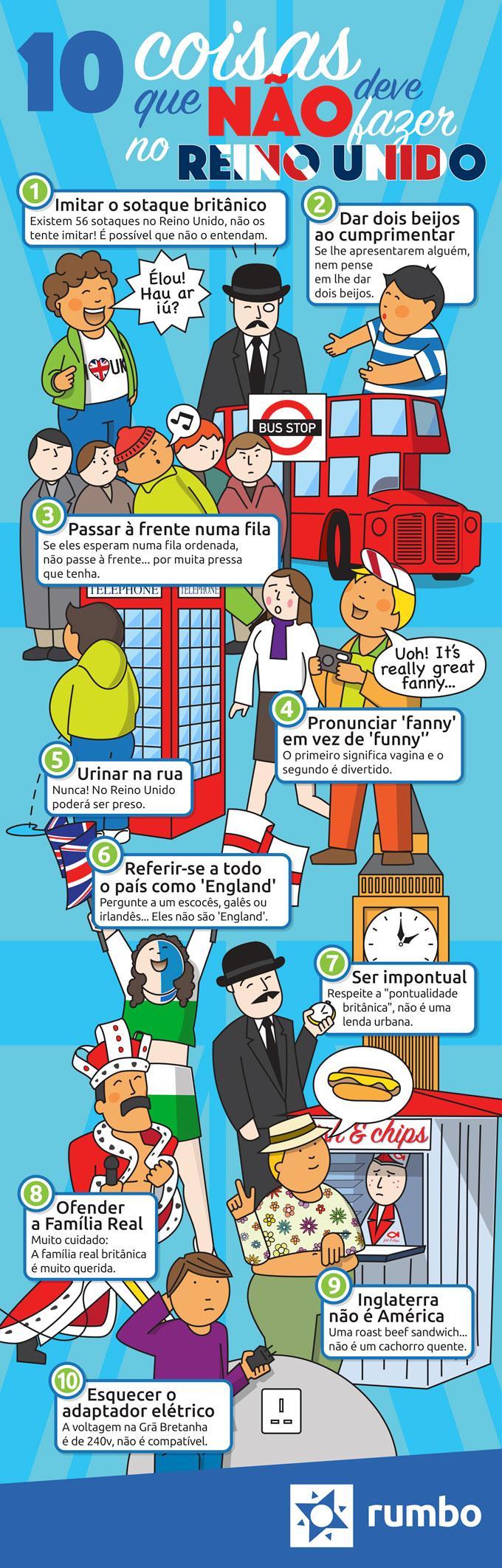 Dez coisas que nao deve fazer no Reino Unido
