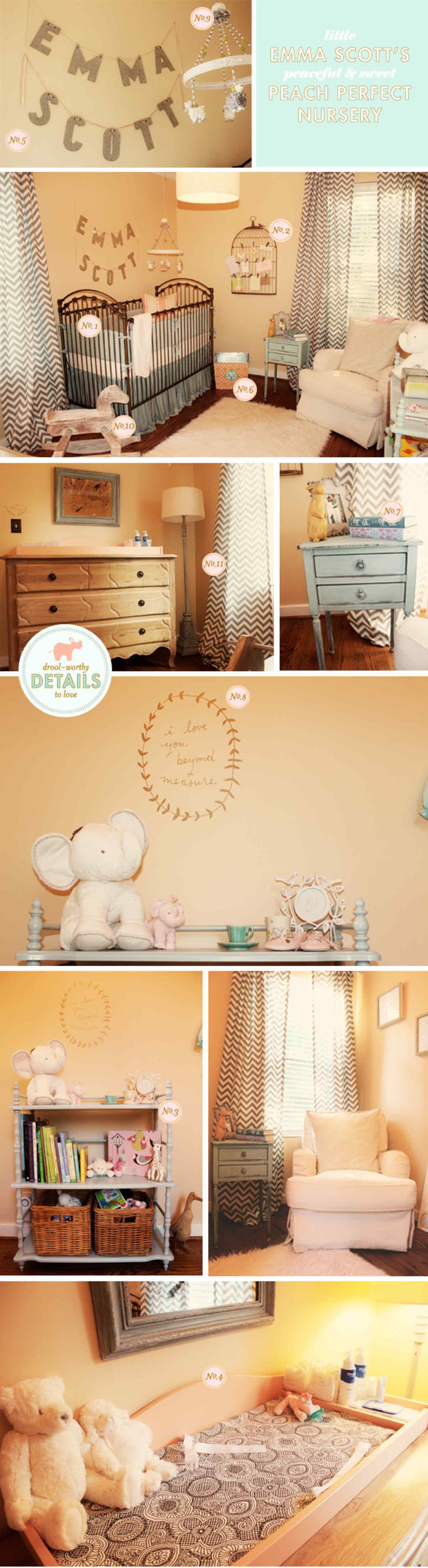 peach and gray baby nursery ideas