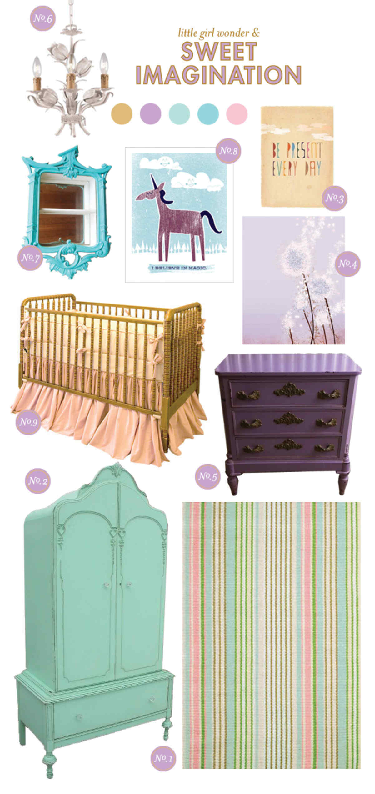 Nursery Inspiration Board; Baby Girl Nursery Inspiration Board