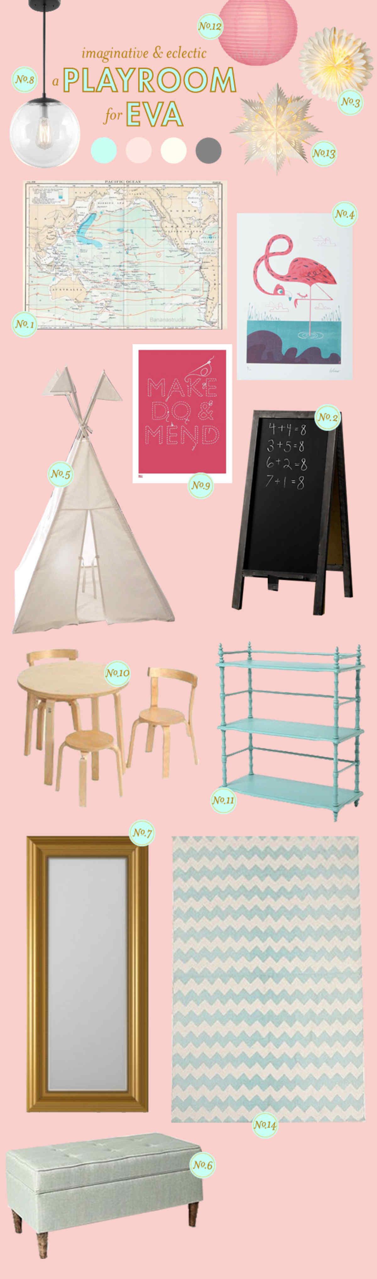 Play Room Inspiration Board; Baby Nursery Inspiration Board