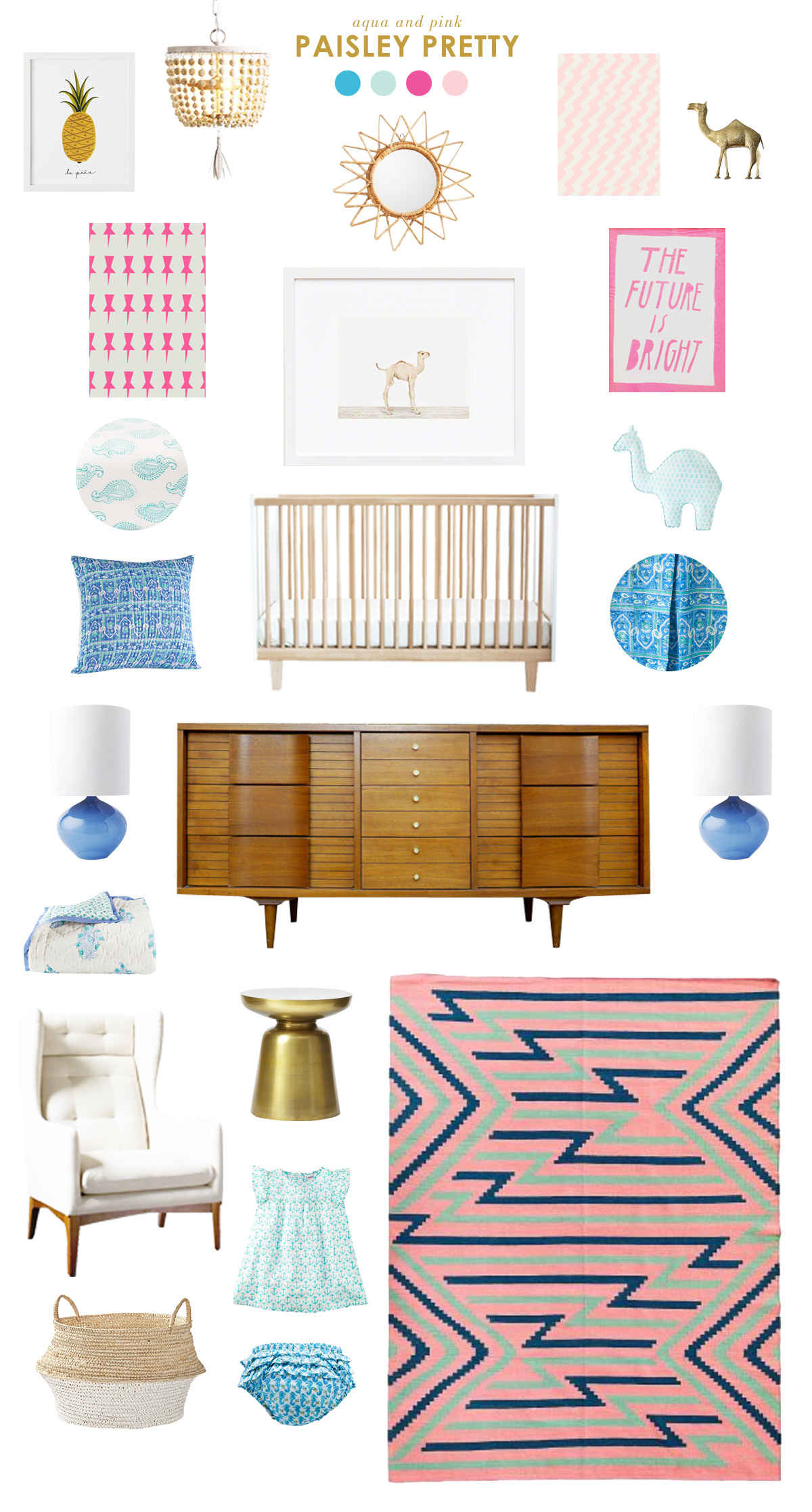 aqua and pink baby nursery inspiration