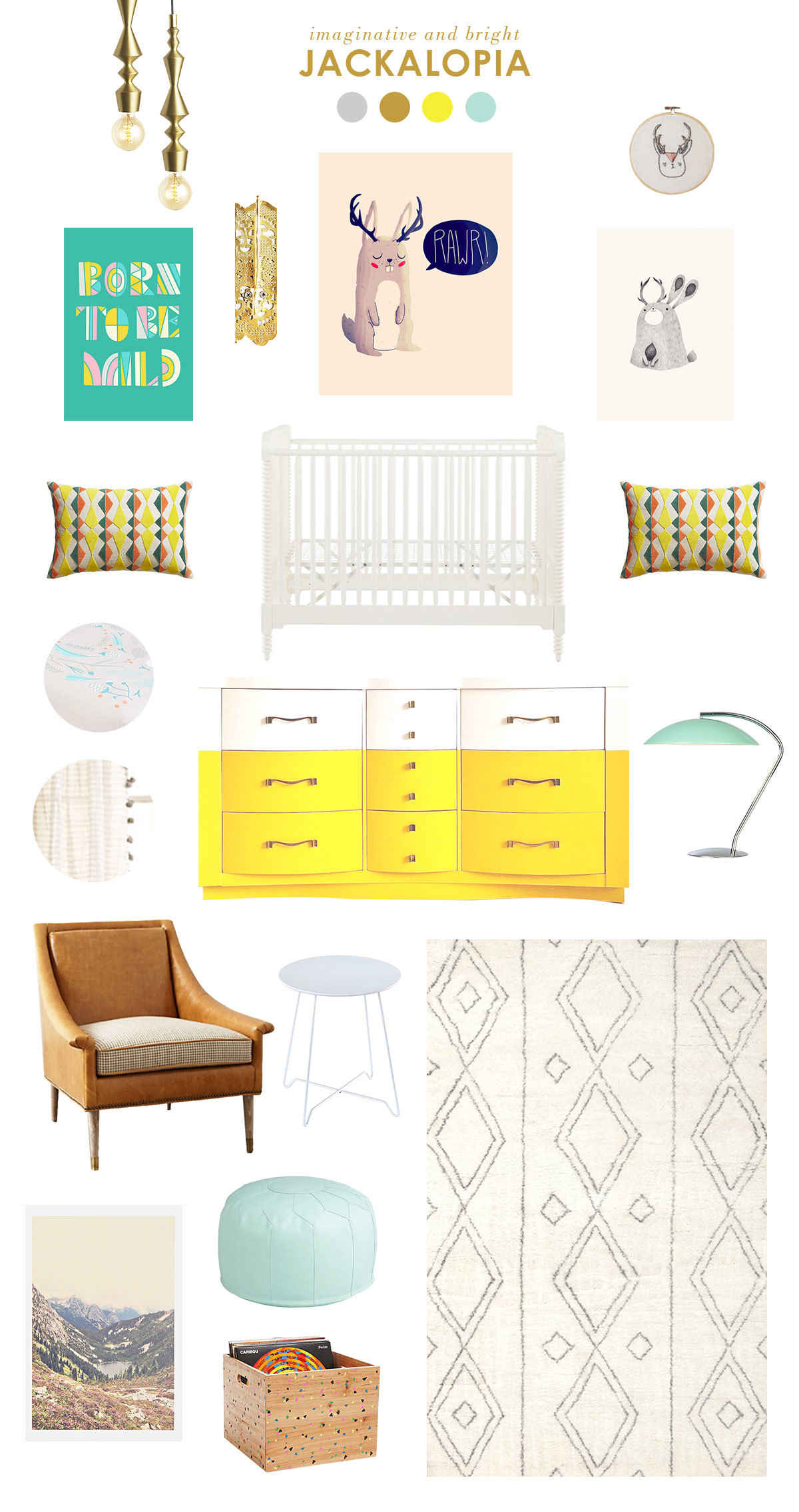 yellow and blue baby nursery inspiration