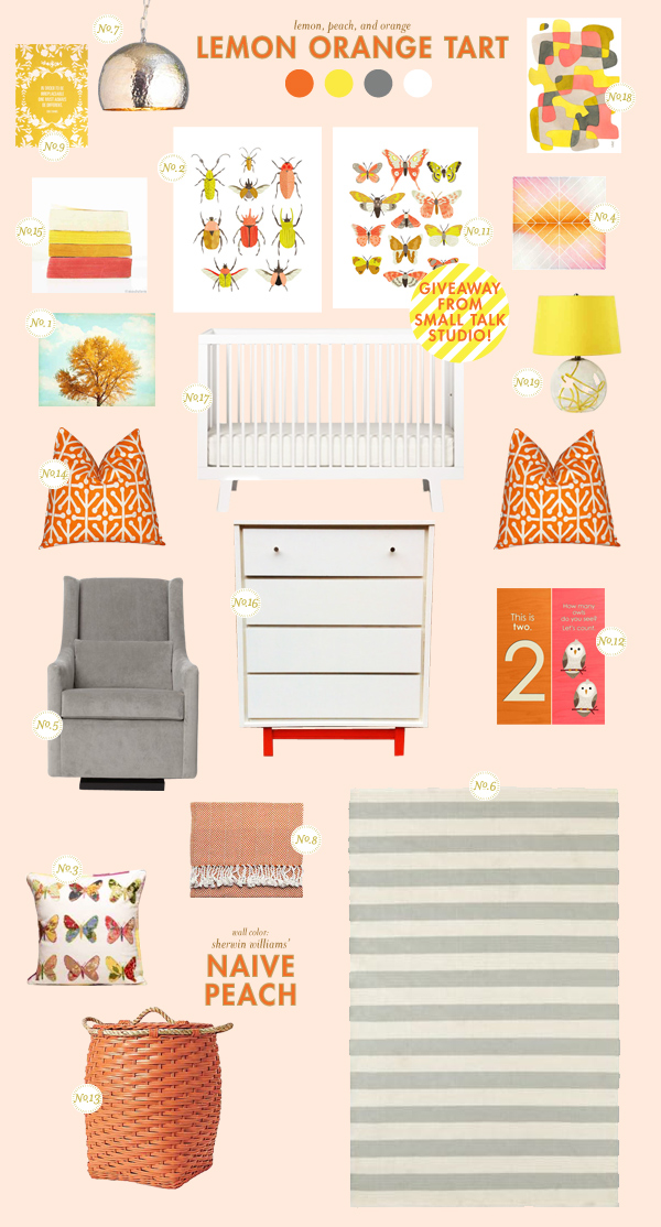 orange and yellow baby room ideas