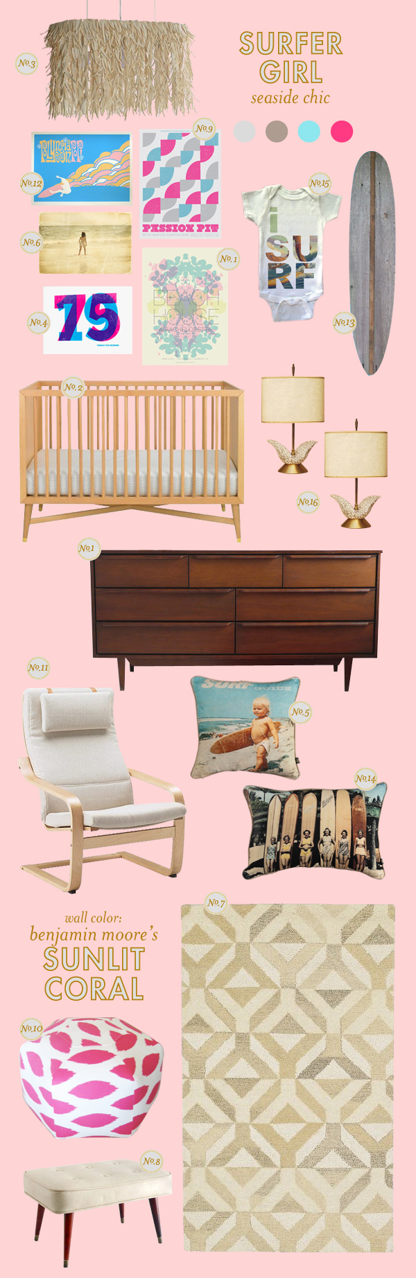 Surfer girl lay baby lay lay baby lay for Surf nursery ideas
