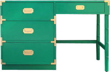 a vintage campaign desk in a bold kelly green hue note many of the tables featured on lay baby lay are one of a kind and are therefore