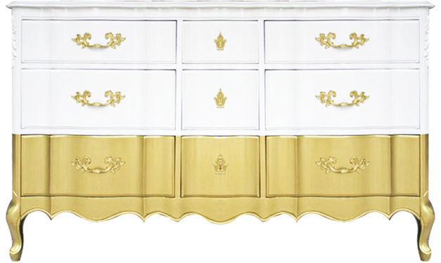 Gold dipped white dresser lay baby lay lay baby lay
