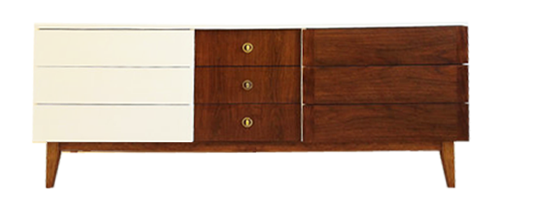 White and Wood Mid-century Dresser - Lay Baby Lay Lay Baby Lay