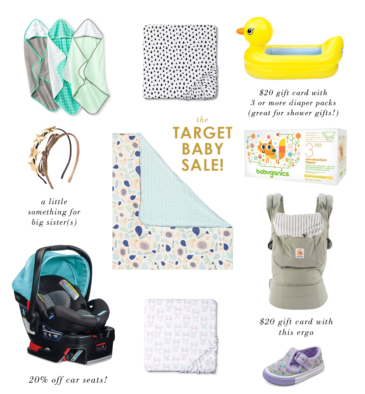 Target is having another baby sale! With discounts such as 20% off car seats, a $20 gift card with the purchase of 3 diaper packs (so perfect for a shower gift!), and 20% off .