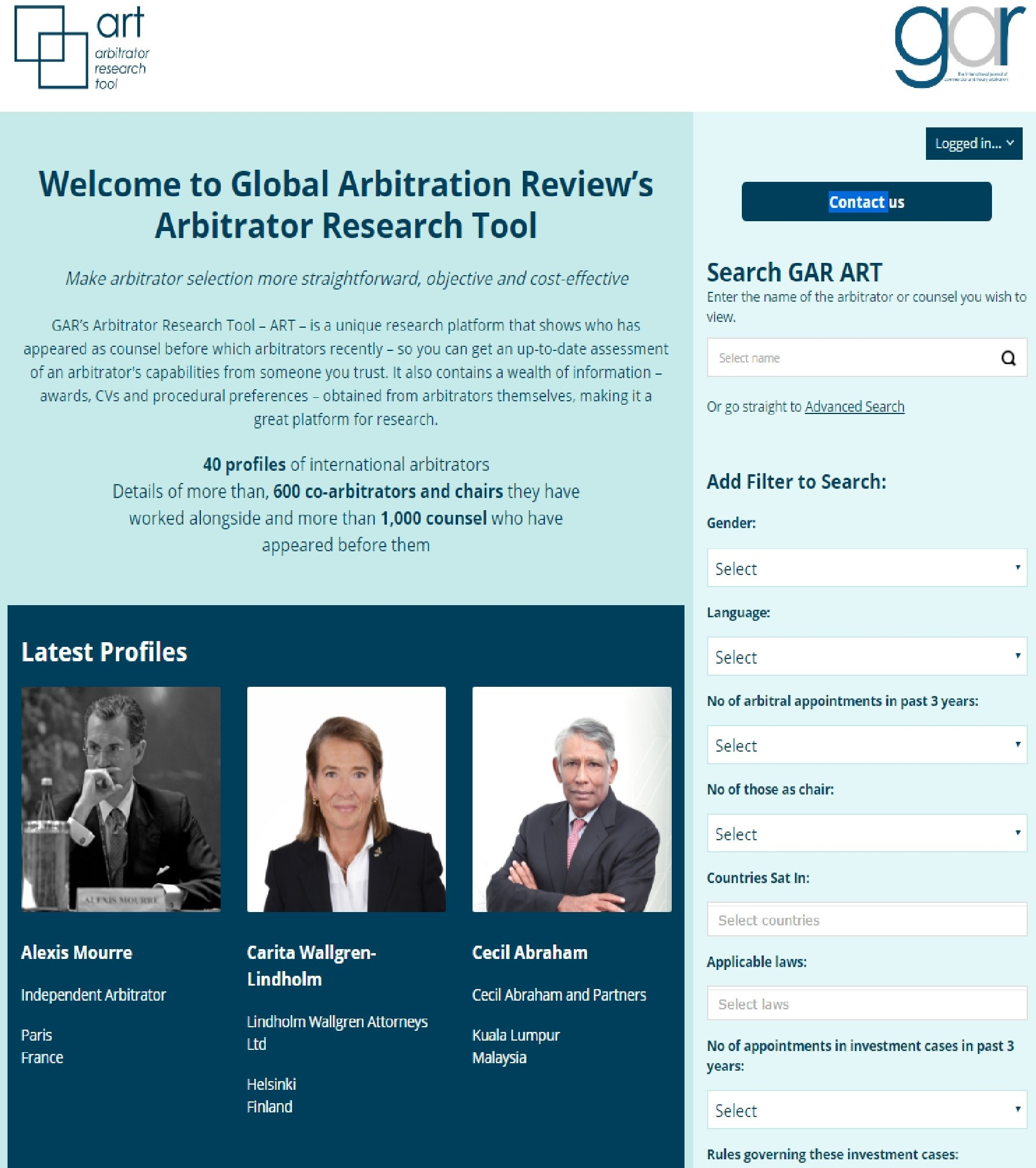 GAR Article GAR Arbitrator Research Tool s London grilling