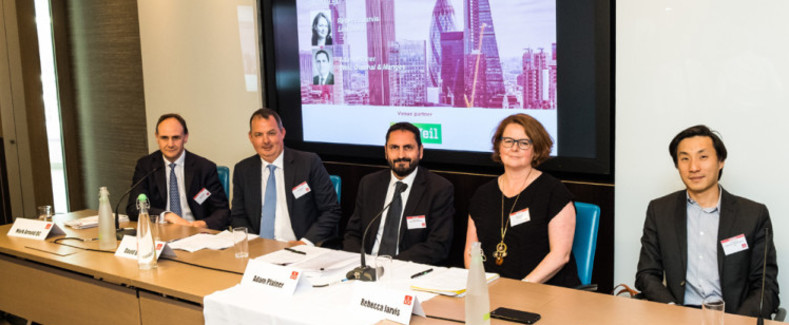 photo of panel fom left to right, Mark Arnold QC, David Burison, Adam Plainer, Rebecca Jarvis and Yushan Ng