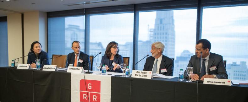 GRR Live New York - from left to right - Jennifer Stam, Andrew Dietderich, Lisa Schweitzer, Judge Martin Glenn, Lynn Harrison