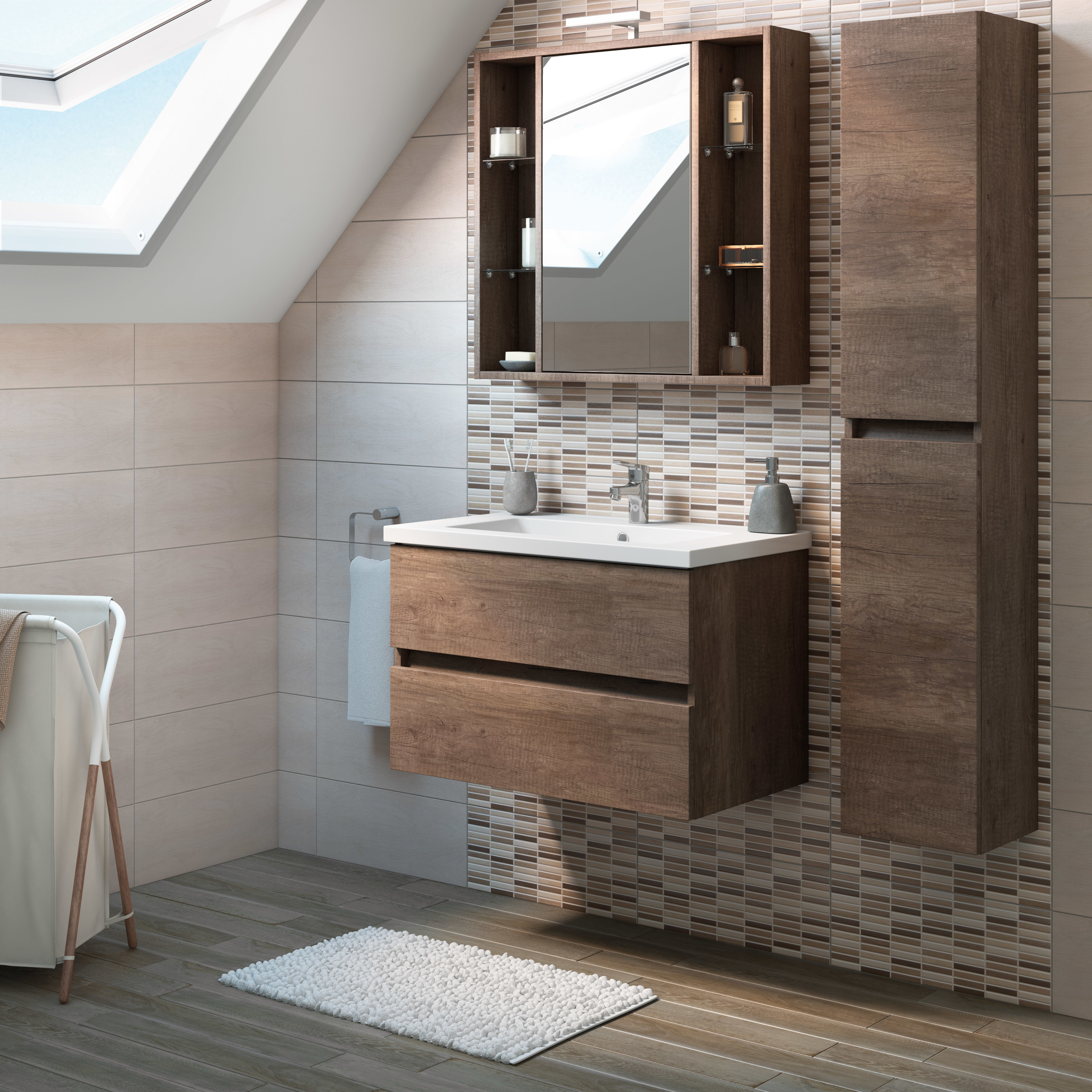 Mobili bagno legno massello 70cm - Mobile bagno leroy merlin ...