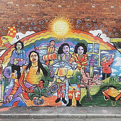 a sneak peak of our new mural! Drop by our Harehills office to see the whole thing!
