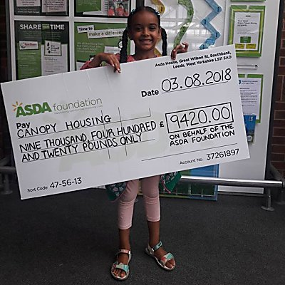 Thanks to the Asda Killingbeck Community Fund for donating to canopy to keep creating homes!
