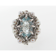 Grandma's Jewel Box Ring: Aquamarine & Pearl