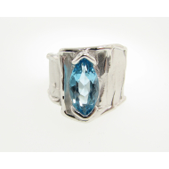 Topaz Silver Ring, Silk, Large Marquise