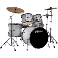 Tama IP52KCHWS Imperialstar LE 5-Piece Drum Kit with Cymbals, Hairline White Silver