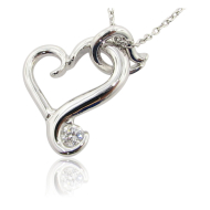 Flutter Heart Necklace, Sterling Silver & Moissanite