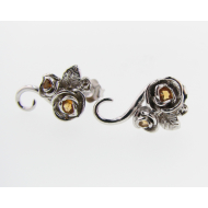 Rosebud & Vine Earrings: Silver & Citrine